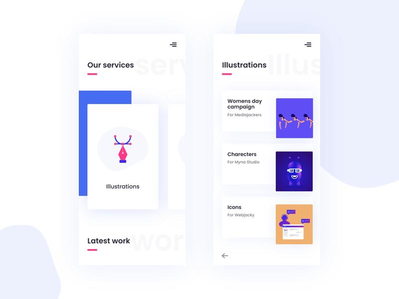 Agency Portfolio Page minimal typography interface cleanui ui illustration