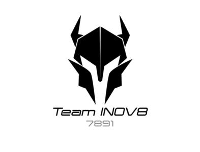 FIRST Team INOV8 7891 Logo negative space logo helmet droid illustrator graphic design robots
