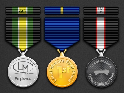 Local Motors Badge Set community gamification photoshop badging badges graphic design