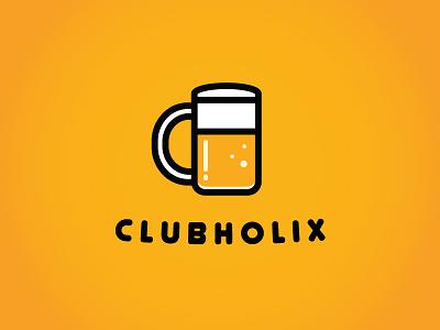 Branding for ClubHolix beer mug minimalistic logo beer mug beer mug branding beer cafe branding beer mug logo club logo logo branding