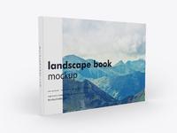 Landscape book cover psd mockup