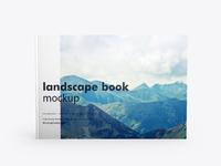 Landscape book mockup front