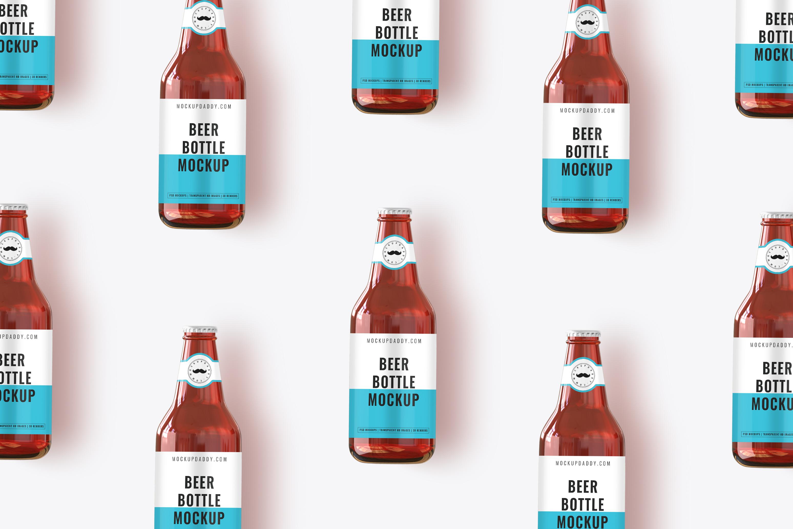 Beer bottle mockup scean