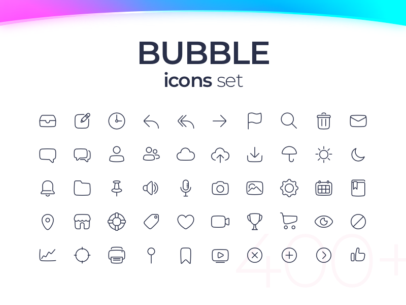 Bubble icons set - 50 icons for FREE by Eugene on Dribbble