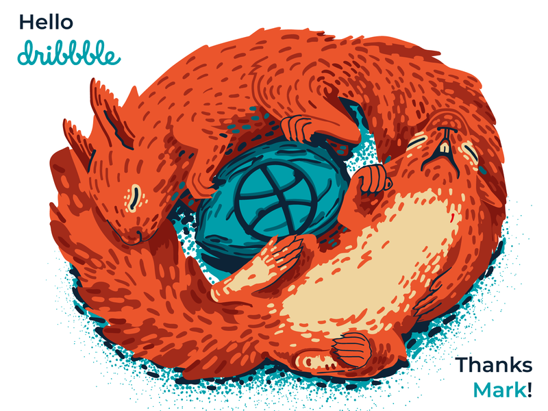Squrrels say welcome Dribbble welcome shot mjd squirrel squirrels illustration hello dribble hellodribbble