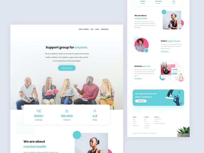 Landing Page - Mental Health Solution meditation mental health awareness mental health colorful group startup modern vibrant tosca web design ux ui landingpage community website