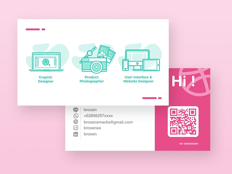 Illustration for business card business card illustration vector photography name portfolio contact tosca