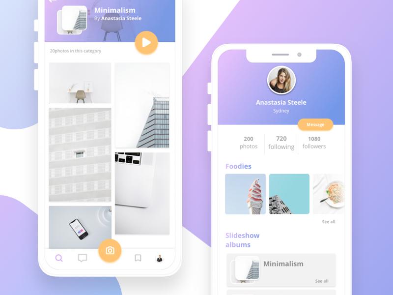 Photo contributor app - Exploration gradient minimal app interface stock browser memories photos