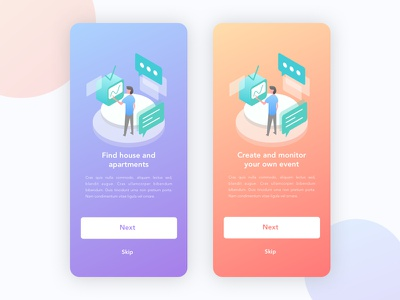 Onboarding Exploration for App business ios interface app purple peach gradient illustration ux ui