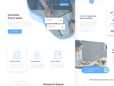 Landing Page for To-Do List App app business clean ui minimal ux ui webdesign website landing page