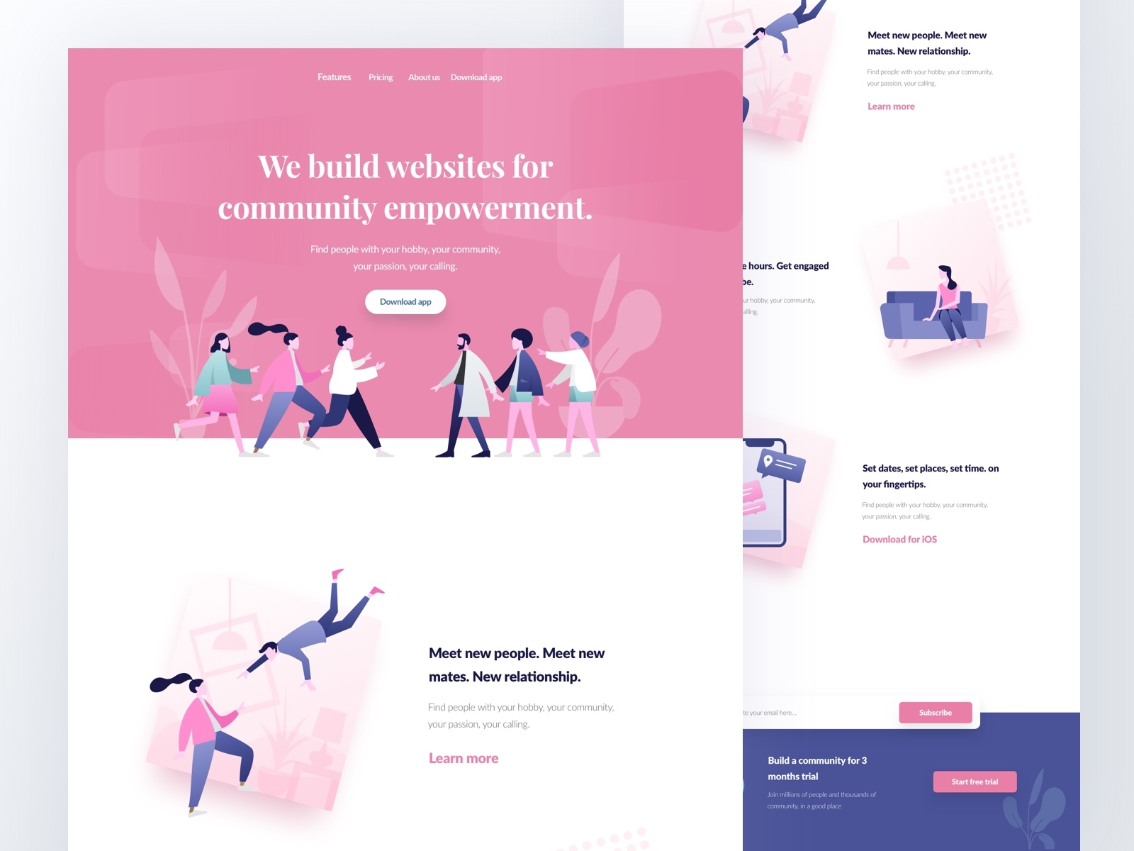 Community Empowerment Website illustration web website pink feminism landing page ui ux startup community sketch