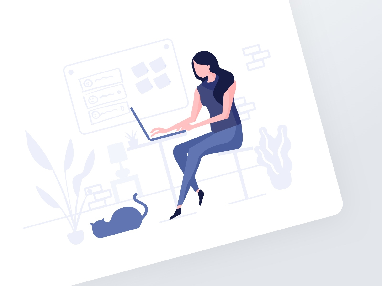 Remote working Illustration design thinking vibrant plants female cat laptop drawing illustration remote work sketch