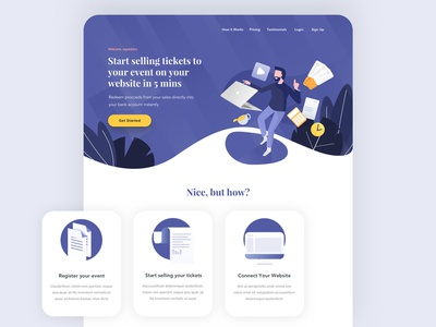 Ticket seller platform landing page purple freelance ticketing platform event seller website landing page ui illustration
