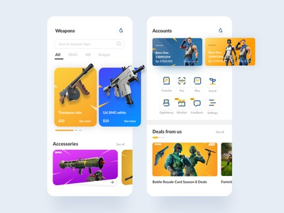 Fortnite-themed Mobile Banking experience app simple user interface design banking app finance icon fortnite illustration ios ux ui