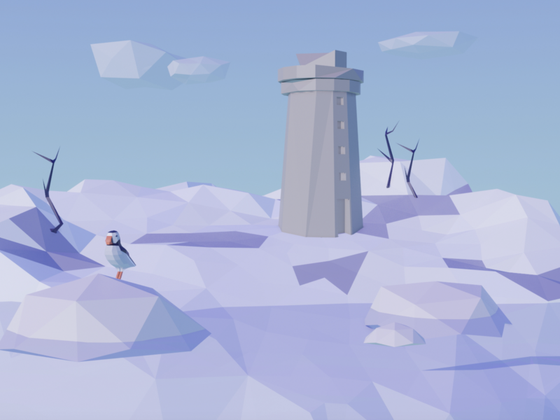 Lighthouse iceland blender 3d modeling lowpoly