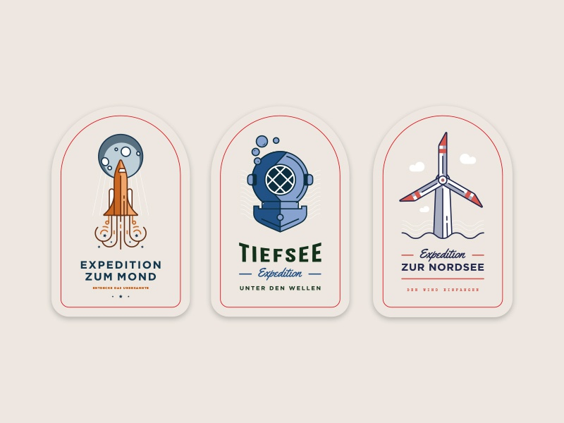 Google Expeditions Stickers explore kids sea wind space patch badge stickers logo