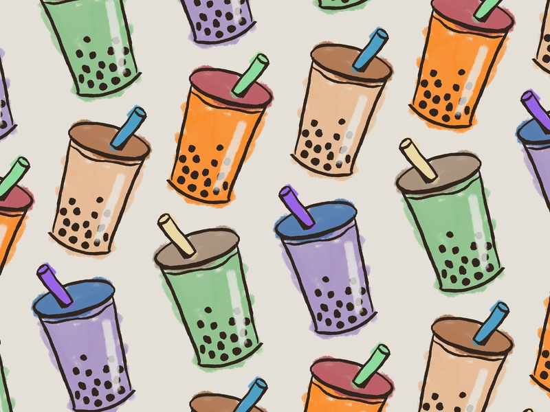 Bubble Tea Time matcha thai tea taro pattern illustration milk tea boba tea boba bubble tea