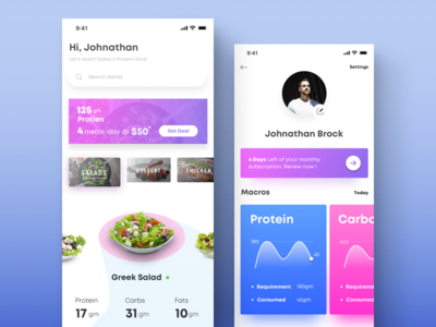 Online food ordering and macro nutrition tracking app UI/UX