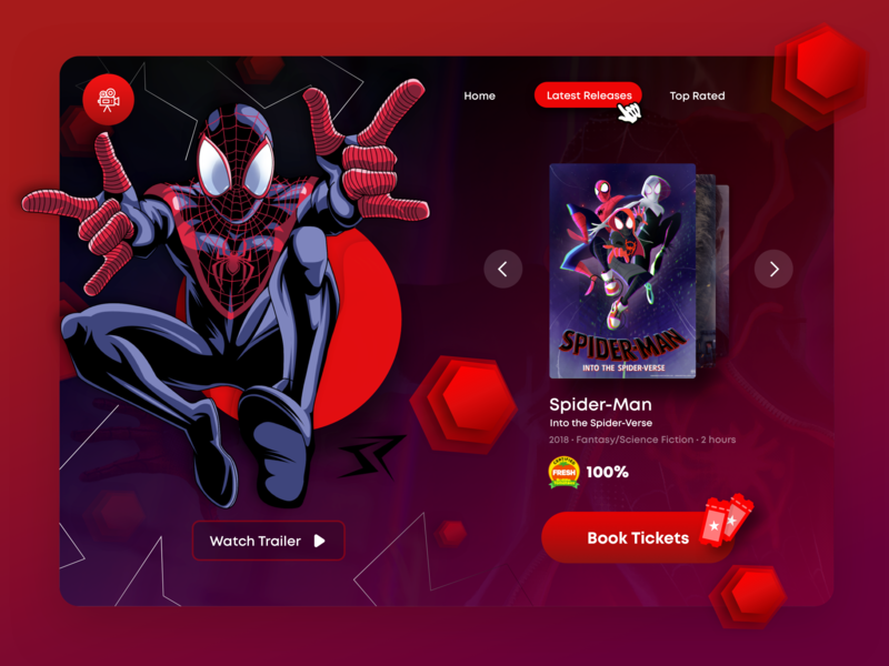 Movie Ticket Booking Web Page UI/UX ui  ux design ui  ux marvelcomics sony marvel abstract entertainment latest trailers rotten tomato tickets design agency booking booking.com movie web design into the spider-verse spider web spider man
