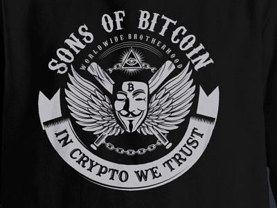 SONS OF BITCOIN vector illustration logo juicyart crypto sons of anarchy bitcoin