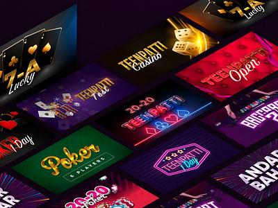 Banner: Casino Pack gambling design lotery game banner poker casino