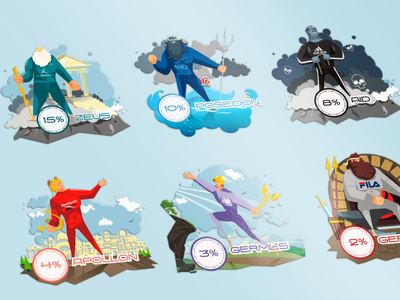 8 GODS | Боги 2d character poseidon ares aid germes apollon zeus character illustration