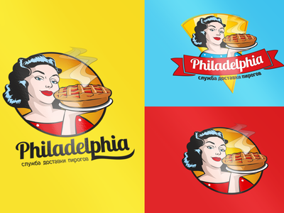 Philadelphia (служба доставки пирогов) eat food philadelphia delivery food pie pinup girl pinup logo