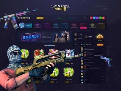 GMDROP.GG - opening of cases кейсы game uiux webdesign standoff opencases gambling cases csgo roulette