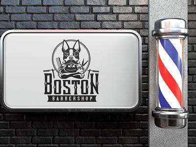 Logo: BOSTON (barbershop) branding retrostyle barbershop boston logo