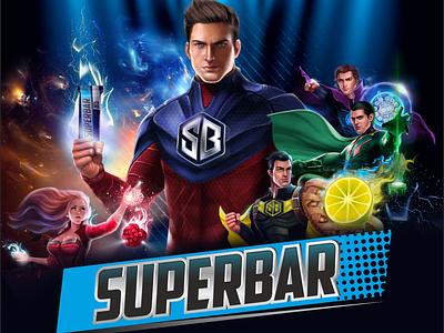 Fitness Bar: SUPERBAR packing design character comics food energy bar fitness bar super hero branding healthy food illustration