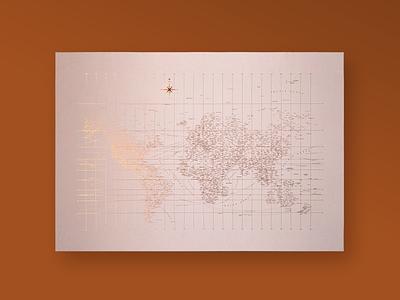 Rose Gold Typographic World Map typographic poster cartography graphic  design design typography design typographic typogaphy map world map