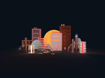 Cityscape cityscape adobedimension adobe 3d artist 3d art 3d digital graphic  design design