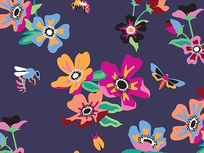 Floral Bee nature floral pattern design illustration