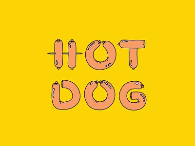 Hot Dog typography hotdog