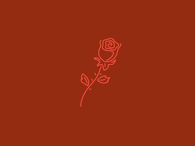 Rose monoline line art flower rose vector illustration