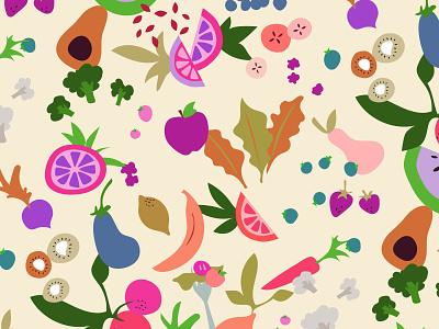 Fruits & Veggies vegetables fruits surface pattern pattern illustration