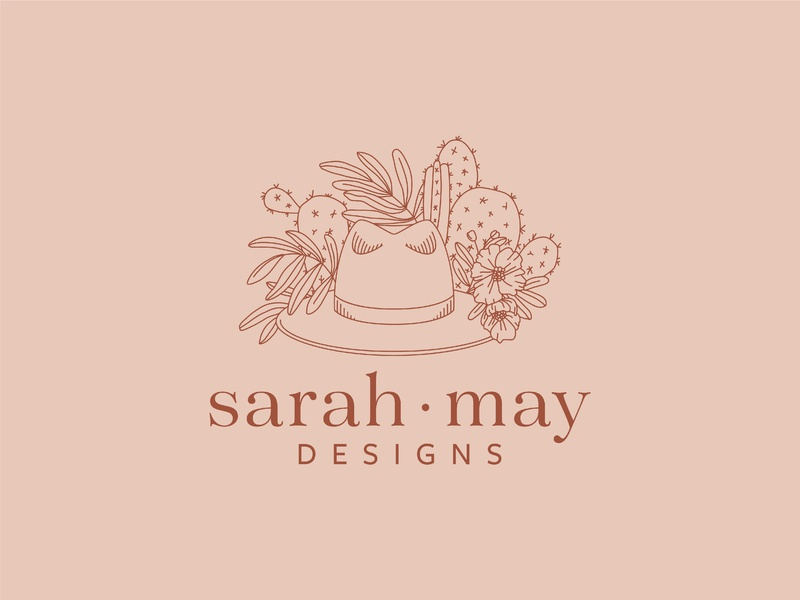 Logo for Sarah May Designs brand hat illustration hat hand drawn flowers linework cactus cactus illustration illustration design wedding design wedding stylist wedding logo california flat branding design branding logo floral logo