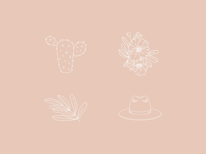 Icons for Sarah May Designs brand icons wedding design wedding flower brand flower illustration wide brim hat hat cactus flowers vector feminine icon illustration design logo brand branding