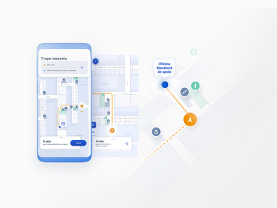 Wayfinding Indoor App education blue map maps app ui design interface