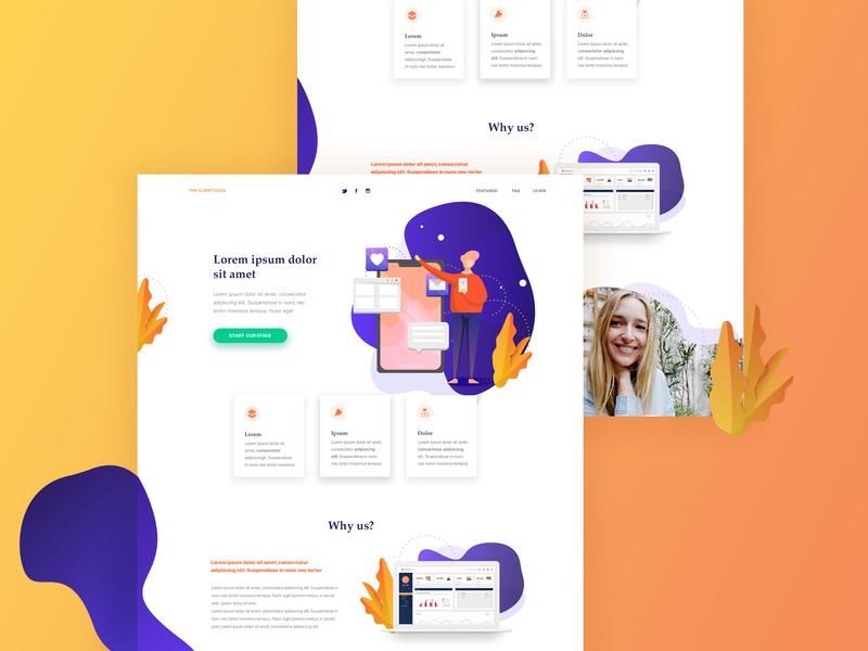 Landing Page purple home page design colorful landing orange gradient ui interface design