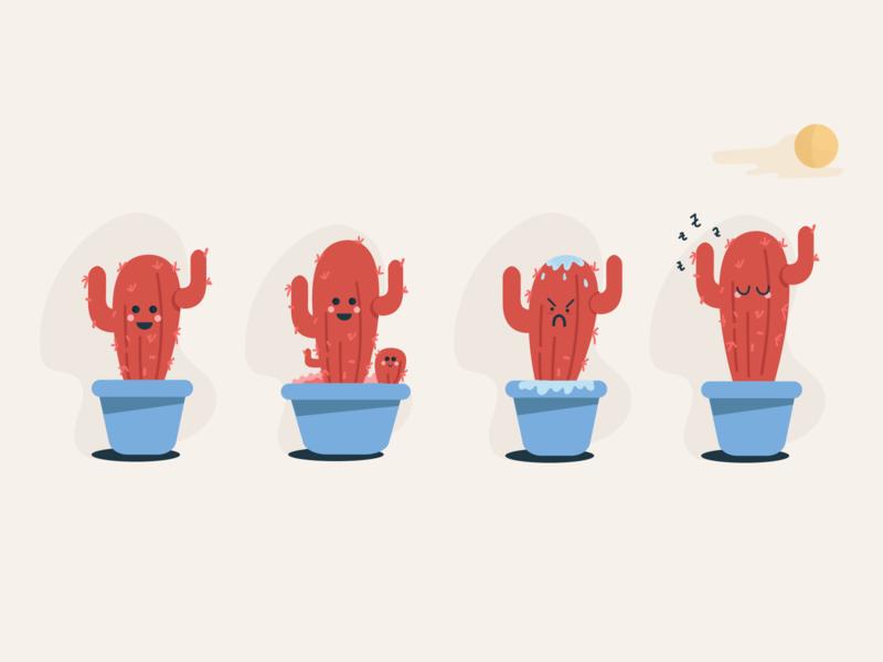 Cactus Life simple funny app illustrator cactus vector illustration flat design