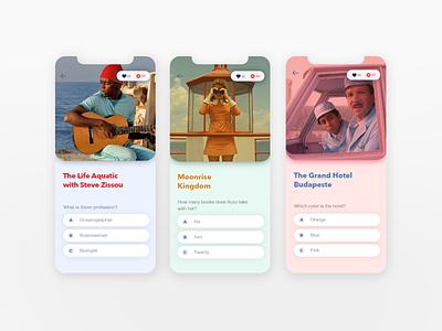 Wes Anderson Quiz ios iphone xr cinema quotes wes anderson movie app movie quiz ui interface design