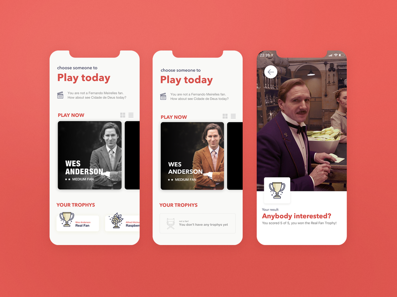 The Ultimate Cinema Quiz red icon iphone ios trophy wes anderson movie app movie illustration app ui interface design