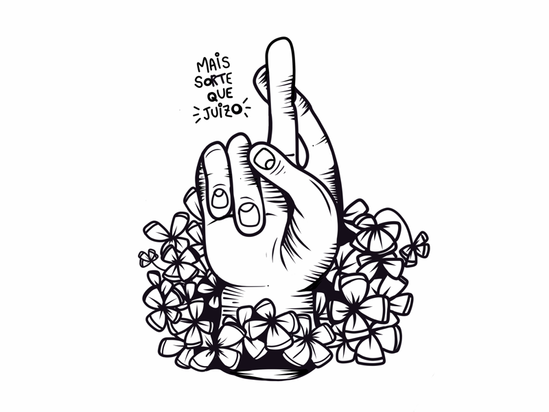 Mais sorte que juízo digital illustration iphone luck hand pro create illustration black work line