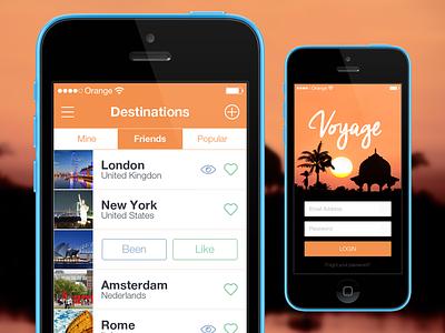 iOS7 List Screen iphone travel app gradient flat ios ios7 user interface ui list iphoneapp