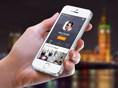iOS7 Profile Screen - Meet&Eat iphone ios ios7 flat navigation profile user interface ui appdesign iphonedesign photoshop ui design