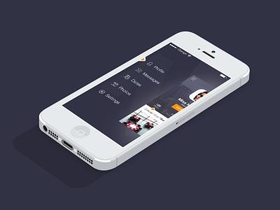 iOS7 Menu - Meet&Eat ui design photoshop iphonedesign appdesign ui user interface profile navigation flat ios7 ios iphone
