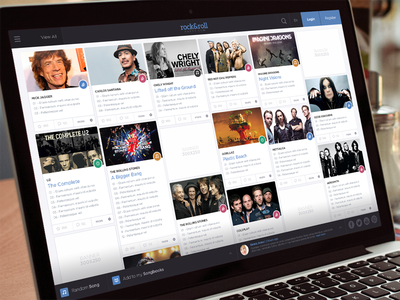 Rock & Roll Website flat webdesign webapp uidesign ui ux music social slider