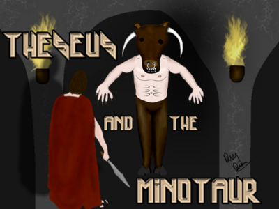Theseus, The Minotaur in The Labyrinth greek myths legends