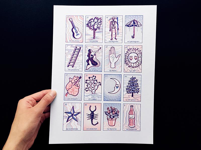 La Loteria Tabla risograph print la loteria graphic design illustration risograph